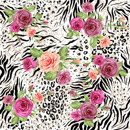 animal skin: Seamless pattern with animal prints and decorative roses Illustration