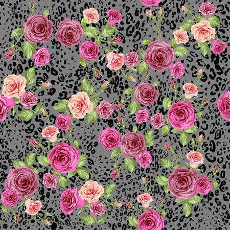 Abstract animal skin and roses. Seamless repeating pattern Vector