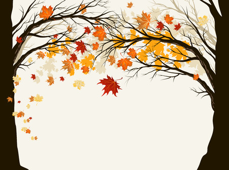 Autumn trees with copy space
