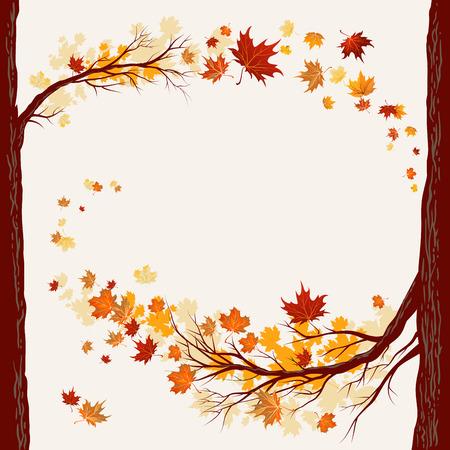 コピー スペースと紅葉の背景