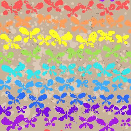 Background with butterflies  Spectrum colors seamless pattern  Vector