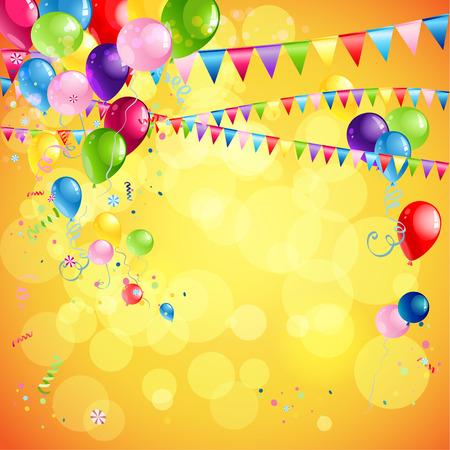 Vacanza sfondo luminoso con palloncini, coriandoli bandiera e posto per il testo