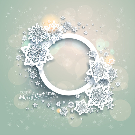 Christmas background with snowflakes and bokeh lights  Place for text Vector