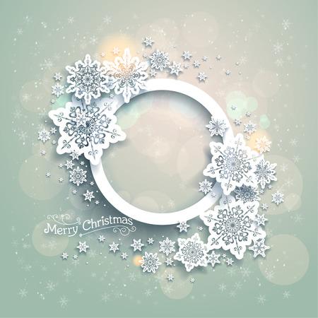 Vánoční pozadí s sněhové vločky a bokeh světla místem pro text