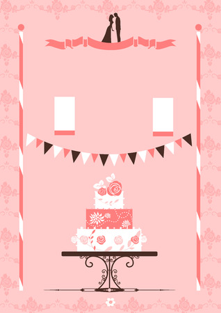 Card with wedding cake  Place for text   Vector