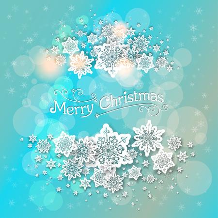 plantilla para tarjetas: Navidad azul de fondo con copos de nieve