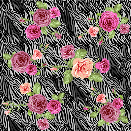 Dark stylish animal pattern with roses  Vector