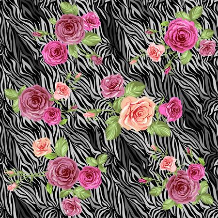 dark skin: Dark stylish animal pattern with roses
