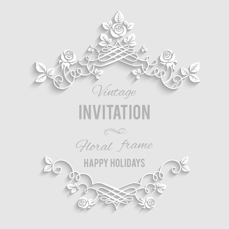 Elegant floral frame with place for text. Festive backdrop for greetings, invitations or any text  イラスト・ベクター素材