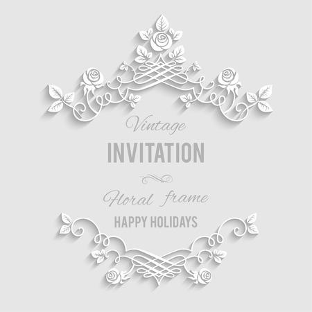 婚禮: 優雅的花框與地方的文本。節日背景問候,邀請或任何文本