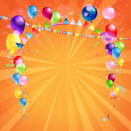 enjoyment: Festive card with balloons. Holiday background with place for text.