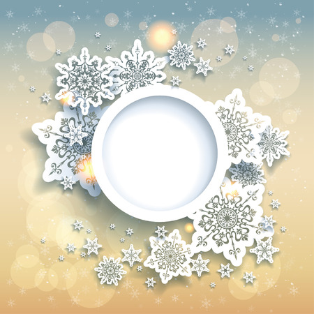 round style: Spectacular christmas background with snowflakes and gold lights. Place for text