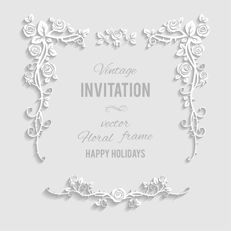 Floral elegant frame with place for text. Festive backdrop for greetings, invitations or any text Illustration