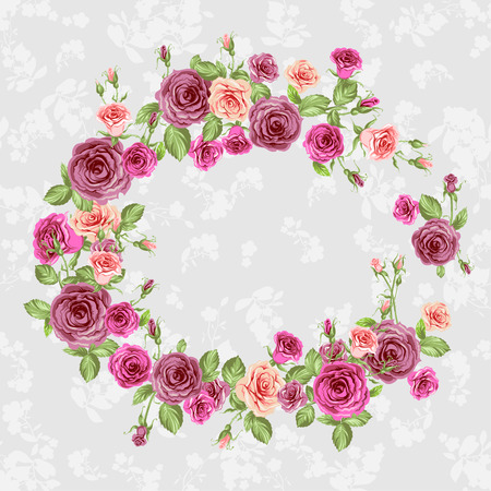 Floral frame with beautiful roses Vector