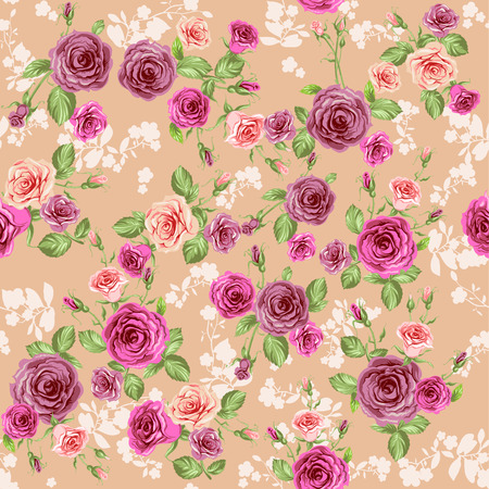 Floral pattern on pastel peach background Vector