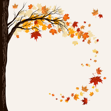 autumn background: Flying maple leaves with copy space.