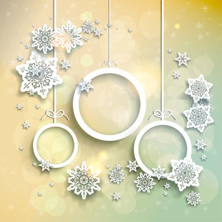눈송이와 추상 크리스마스 공 빛 크리스마스 배경
