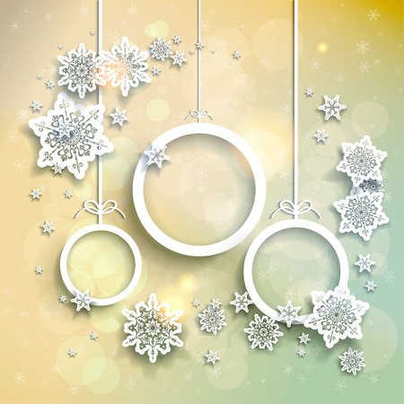 december: Light christmas background with snowflakes and abstract christmas balls