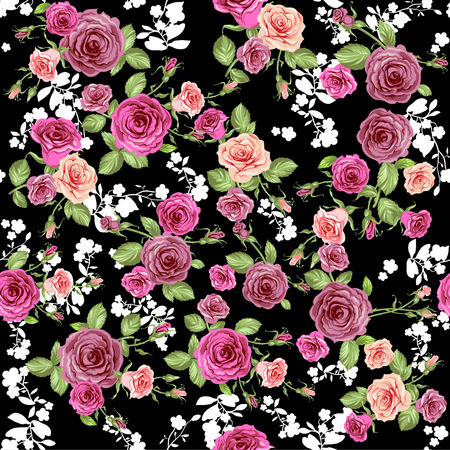 Roses pattern on black backdrop. Seamless background. Illustration