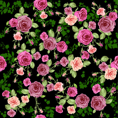 Roses seamless pattern on dark floral background. Vector
