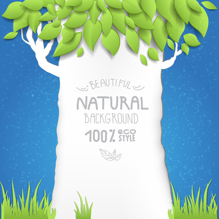 Blue summer sky with tree. Eco style. Place for text. Vector