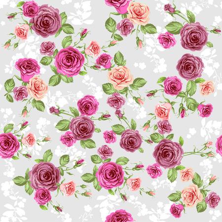 ramos de flores: Estampado de flores en la luz biackground fisuras gris. Vectores