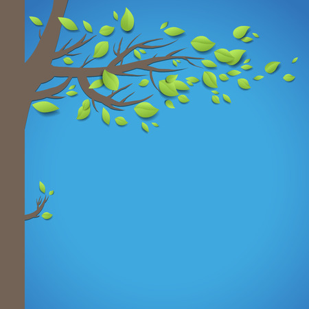 Summer background with tree. Place for text. Vector