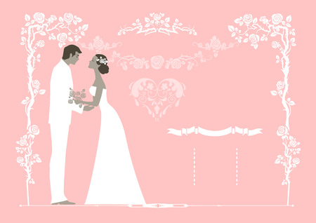 Wedding background with the bride and groom. Copy space. Vector