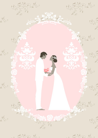 Wedding card with the bride and groom. Vector
