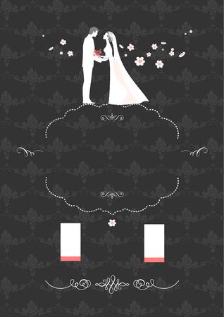 wedding table decor: Wedding invitation with bride and groom.