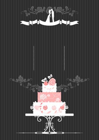 vintage lady: Uitnodiging van het huwelijk met bruidstaart. Plaats voor tekst.