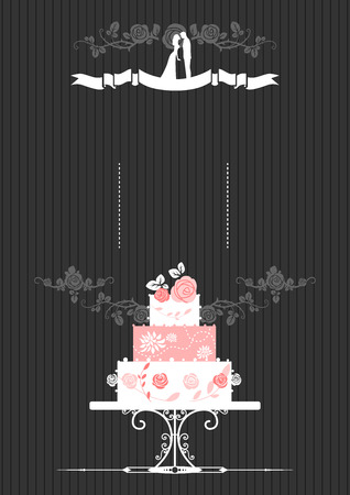 wedding table decor: Wedding invitation with wedding cake. Place for text.