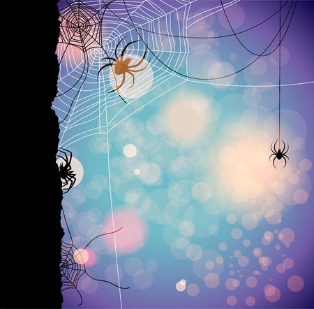 Fetive autumn background with spiders. Place for text  Vector
