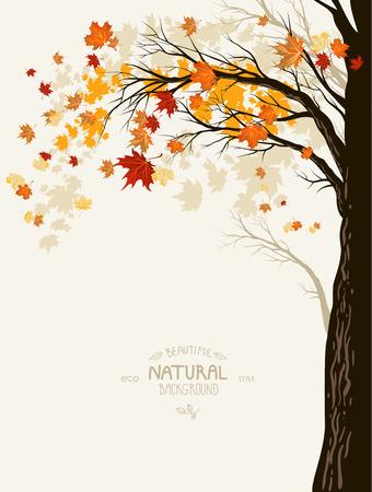 Herfst achtergrond met boom silhouet. Plaats voor tekst