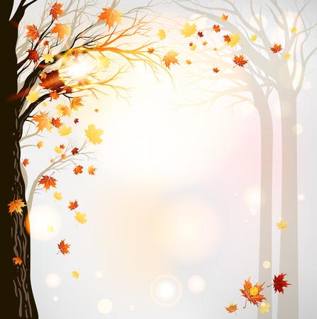 秋の森の背景。ラスターのバージョン