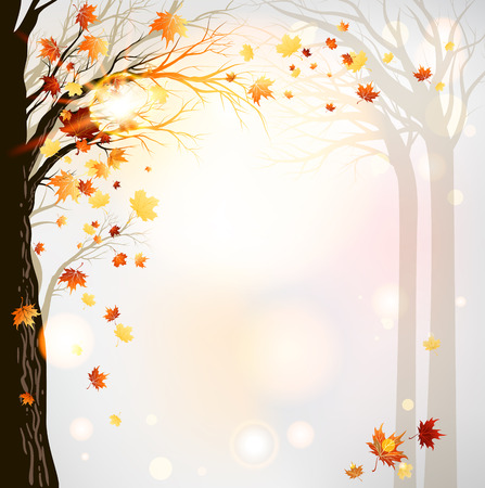 Herfst bos achtergrond. Roosterversie Stock Illustratie