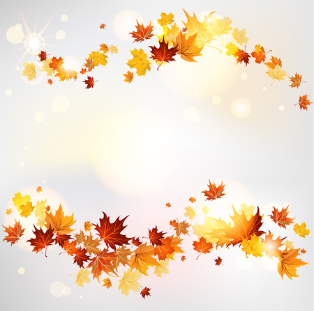 flying leaves: Autumn swirl of maple leaves with place for text. Raster version