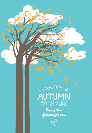 background herfst: Herfst achtergrond met bomen en bladeren. Plaats voor tekst Stock Illustratie