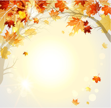 rusty background: Beautiful autumn background with branches. Raster vector