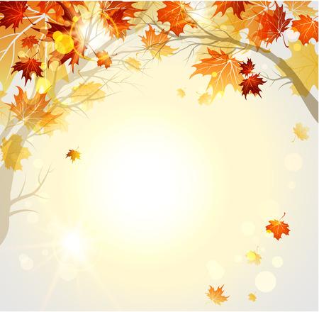 Autumn: Fondo hermoso del otoño con las ramas. Raster vector