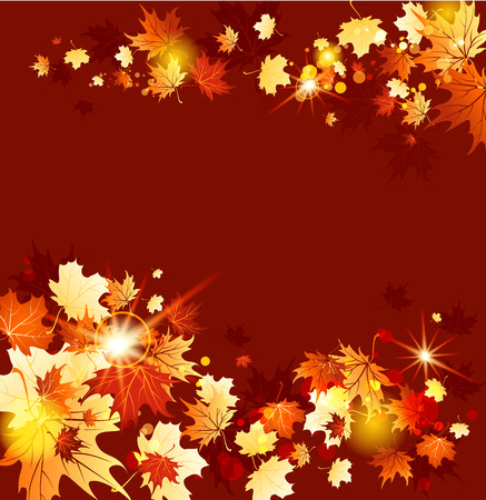 Background with fall maple leaves. Raster version