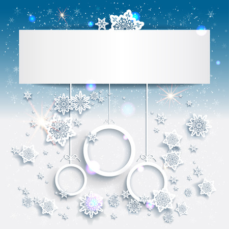 Blue Christmas background with abstract decorations. Place for text