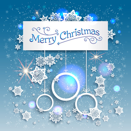 Blue Christmas background with beautiful snowflakes. Copy space