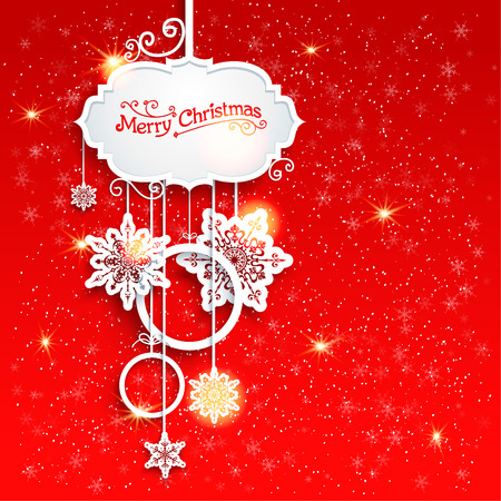 a holiday greeting: Holiday Christmas decoration on red background with place for text