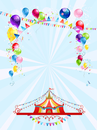 rope ladder: Circus poster with balloons. Raster version. Illustration