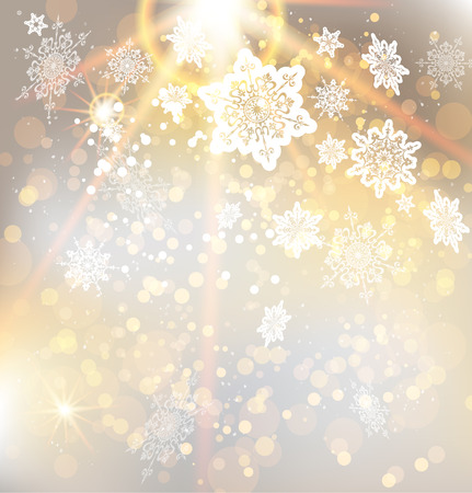 rays light: Festive Christmas background with beautiful golden light. Vector abstract illustration with snowflakes.