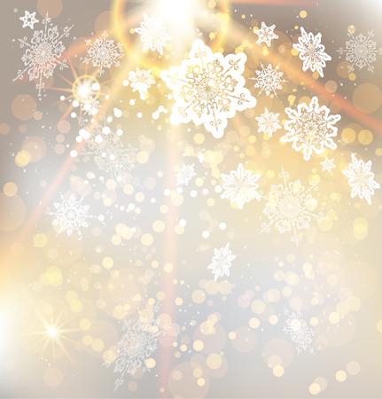 Fondo festivo de Navidad con hermosa luz dorada. Resumen de vectores de ilustración con los copos de nieve. Vectores