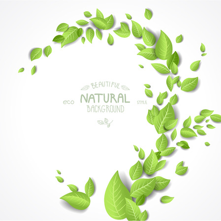 Summer background with green leaves with place for text. Nature vector backdrop Illustration