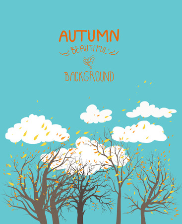 background herfst: Herfst achtergrond met blauwe hemel en bomen. Plaats voor tekst