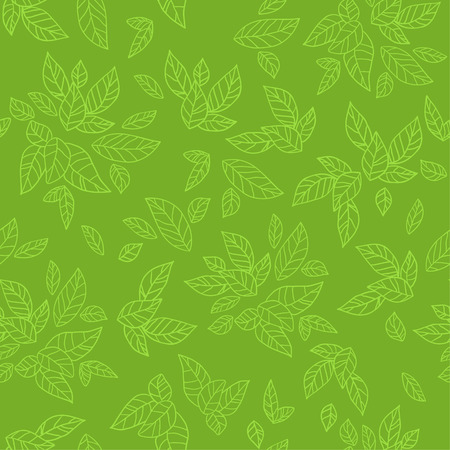 Green seamless pattern. Eco background Çizim